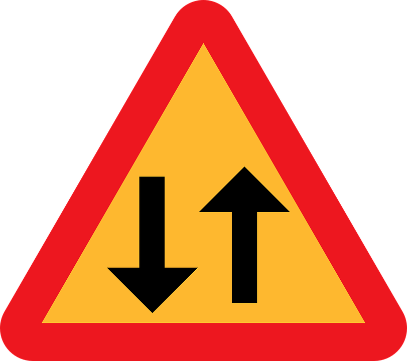 Two Way Traffic Straight Ahead, Caution Sign, Road Sign