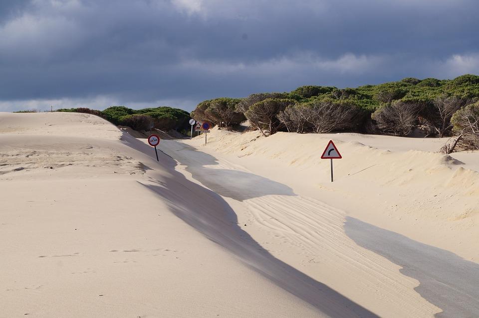 Dunes, Signs, Road, Desert, Sand, Nature, Highway, Path