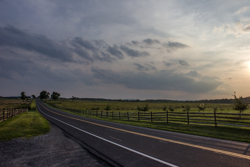 Road, Clouds, Pasture, Fence, Picket Fence, Sky