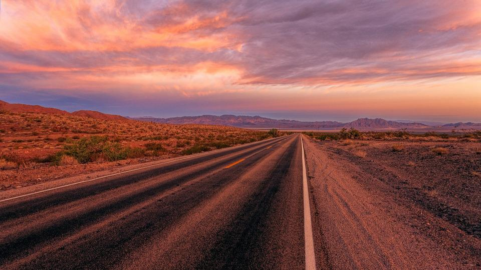 Road, Desert, Sunset, Landscape, Nature, Sky, Panorama