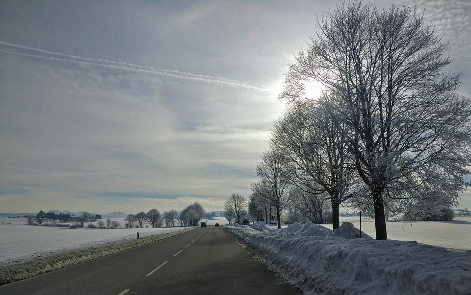 Winter, Winter Scene, Road, Snow, Sky, Horizon, Bavaria