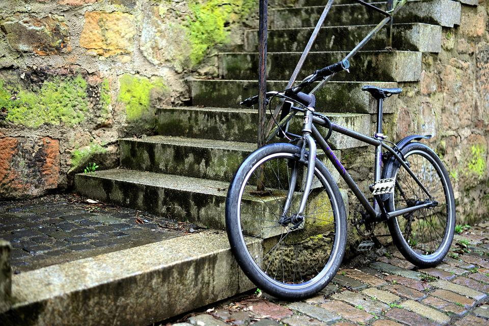 Bike, Turned Off, Stairs, Downtown, Road, Transport