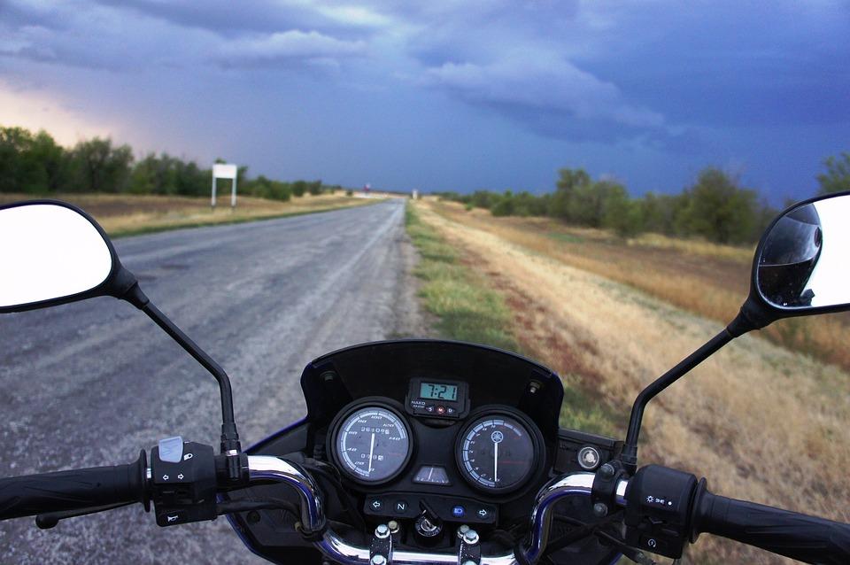 Motorcycle, Road, Dark Sky, Steering Wheel, Mirror