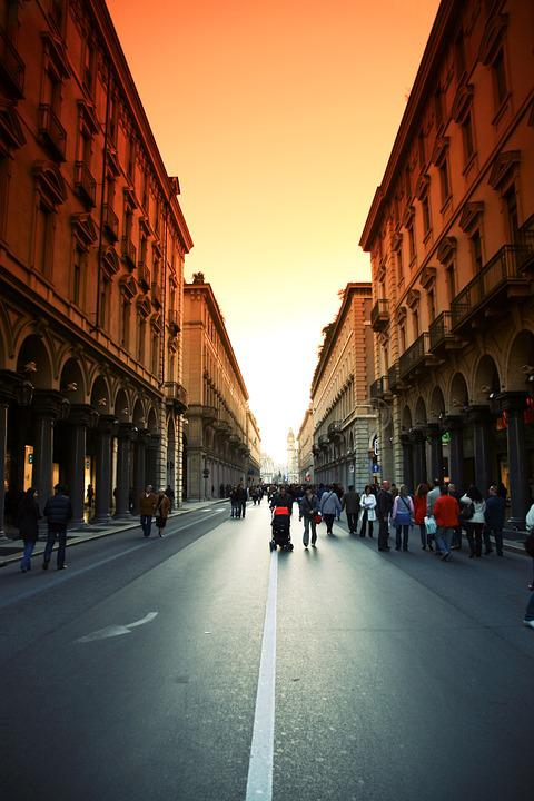 Road, People, Street, Buildings, Houses, Turin, Walk