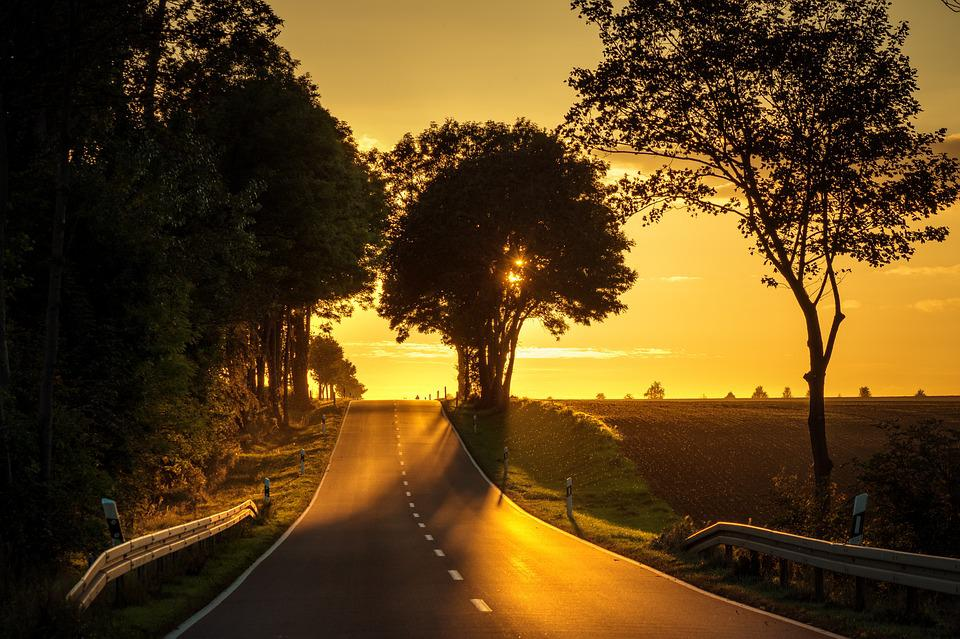 Road, Sunset, Backlighting, Landscape, Abendstimmung