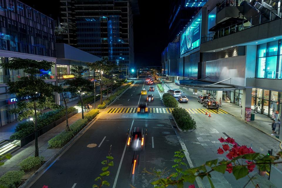 City, Road, Street, Dusk, Transportation System