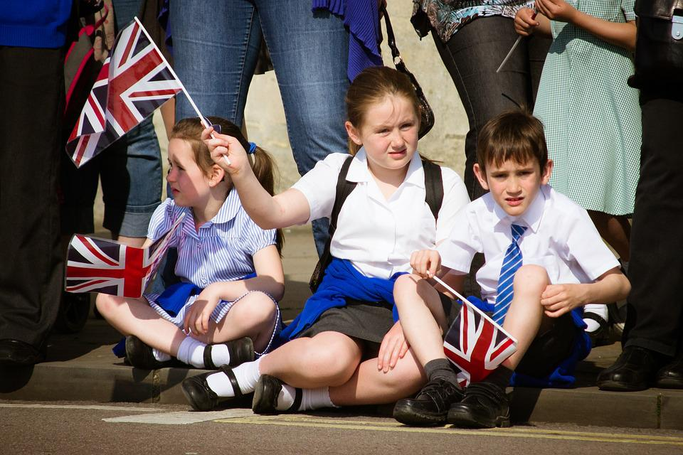 Children, Union Jack, Union Flag, Sitting, Road, Street