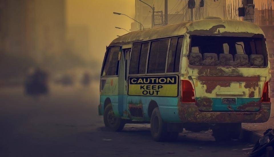 Vintage, Bus, Foggy, Abandoned, Road