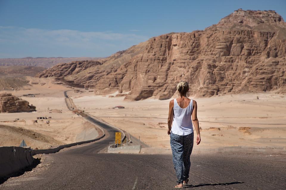 Woman, Walking, Desert, Road, Sinai, Egypt, Sky, Yellow
