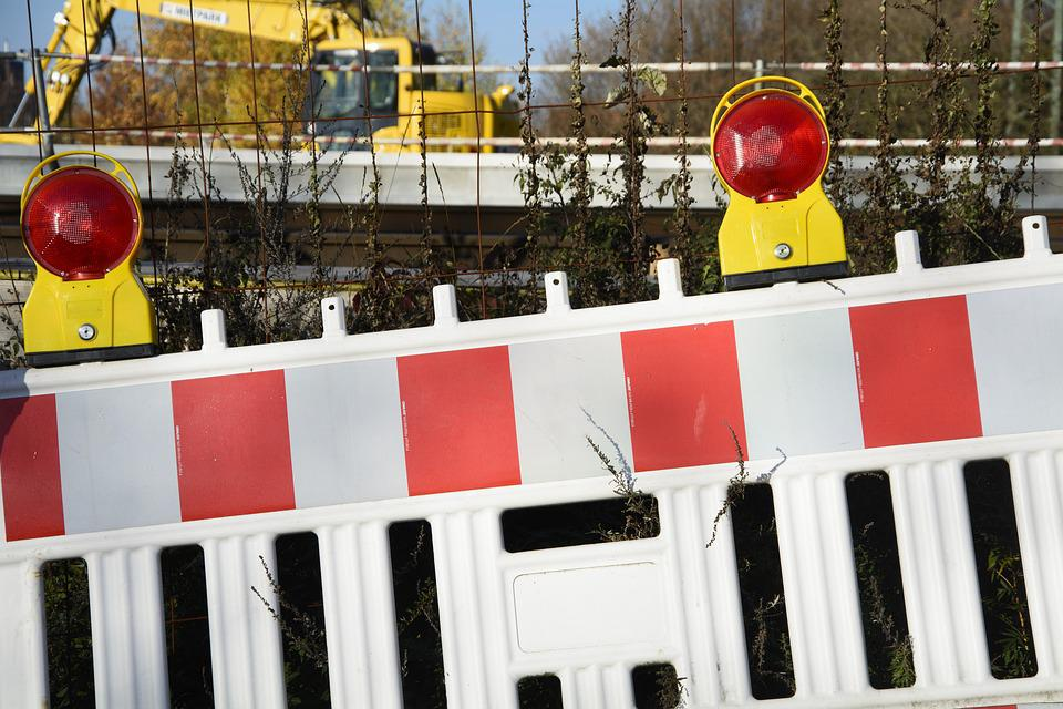 Site, Barrier, Demarcation, Warning, Road Works, Yellow