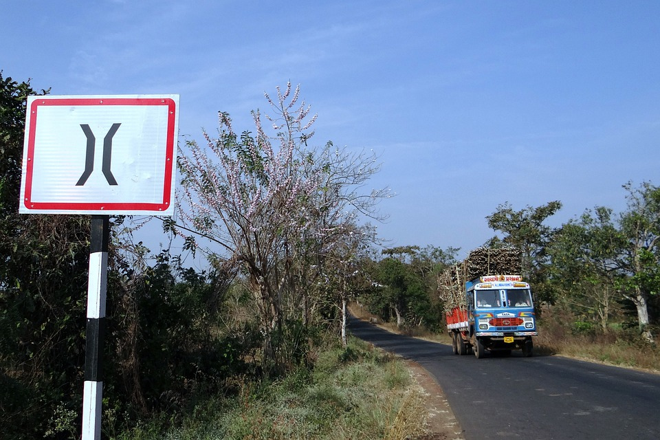 Road Sign, Roadsign, Forest, Truck, India, Car