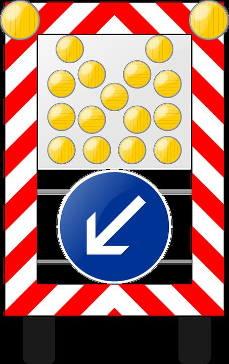 Warning Lamp, Flash, Sign, Road Sign, Roadsign