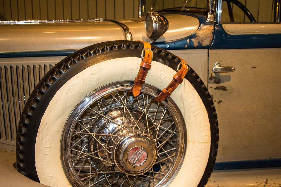 Goodyear, Spare Tire, Roadster, Wire Wheel
