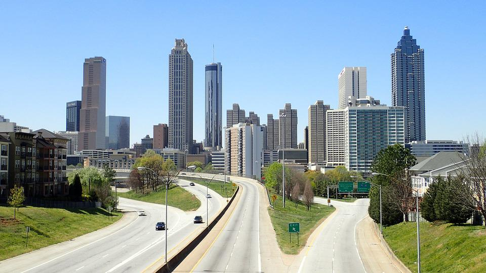 Atlanta, City, Roadway, Freeway, Skyscrapers, Cityscape