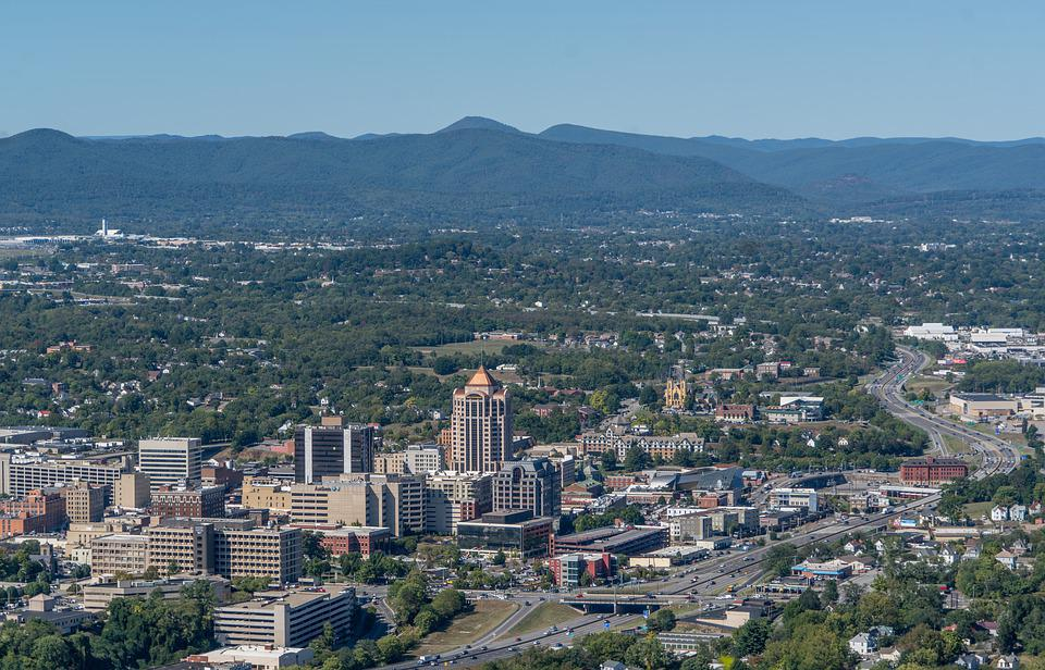 Virginia, Roanoke, Panorama, Blue Ridge Mountains, Sky
