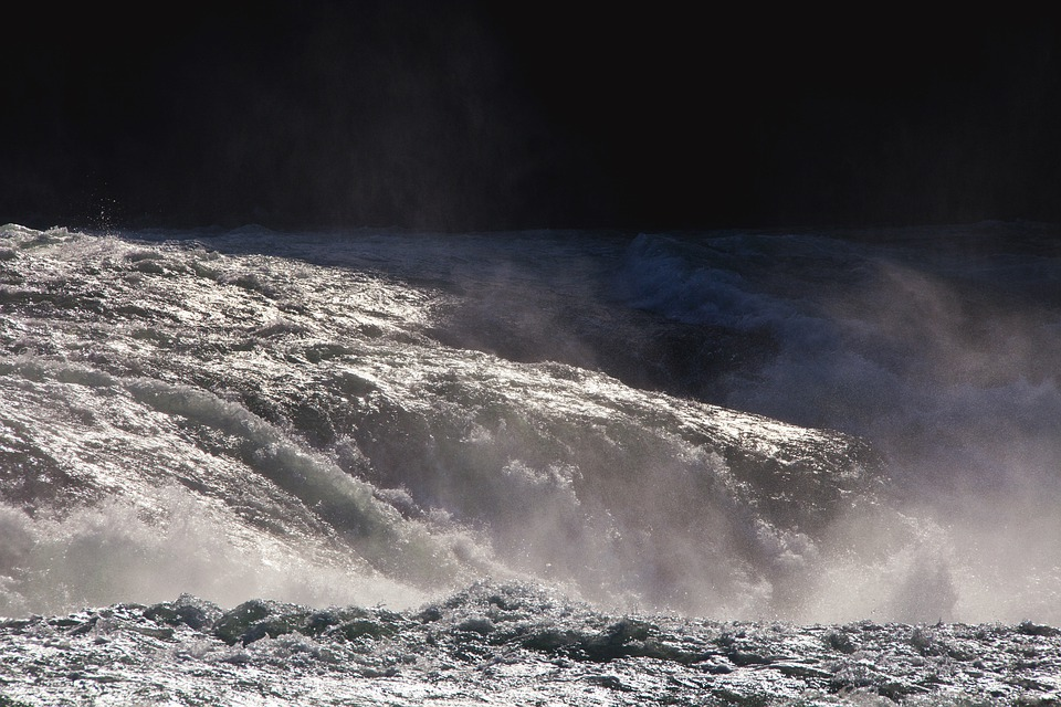Water, Waterfall, Roaring, Flood, Rhine Falls