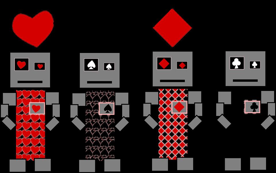 Clubs, Diamonds, Hearts, Robot, Spades, Card Deck