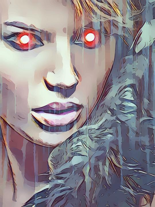 Red, Eyes, Girl, Woman, Robot, Evil, Rain, Portrait