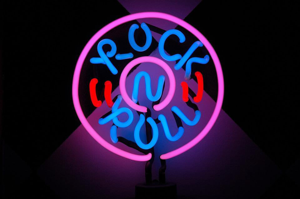 Rock And Roll, Lamp, Neon, 50's, Sign, Pink