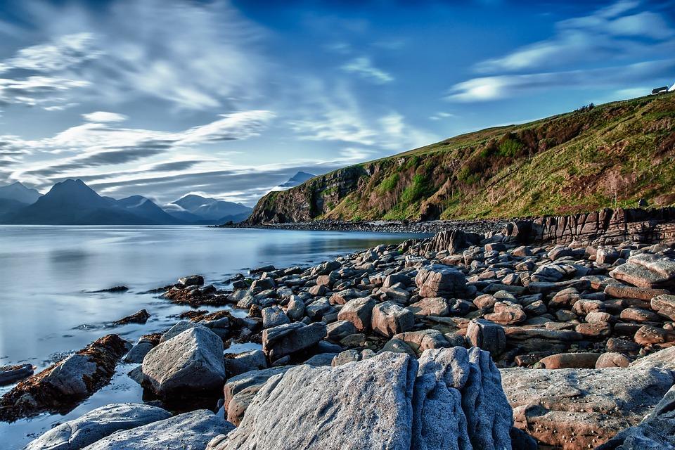 Coast, Beach, Rock, Stones, Lake, Water, Sea, Hill