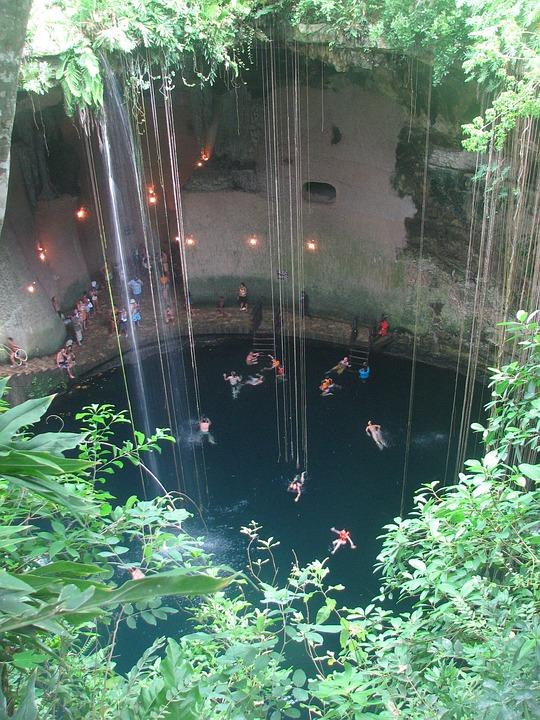 Cenote, Cave, Yucatan, Mexico, Swimming, Rock, Cavern