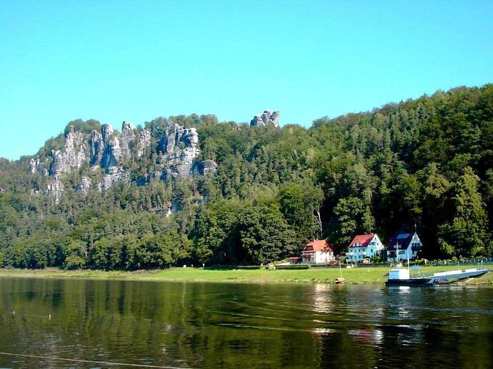 Elbe, River, Mirroring, Elbe Sandstone Mountains, Rock