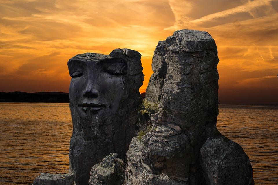 Rock, Rock Face, Fantasy, Stone Face, Sunset, Dusk, Sky