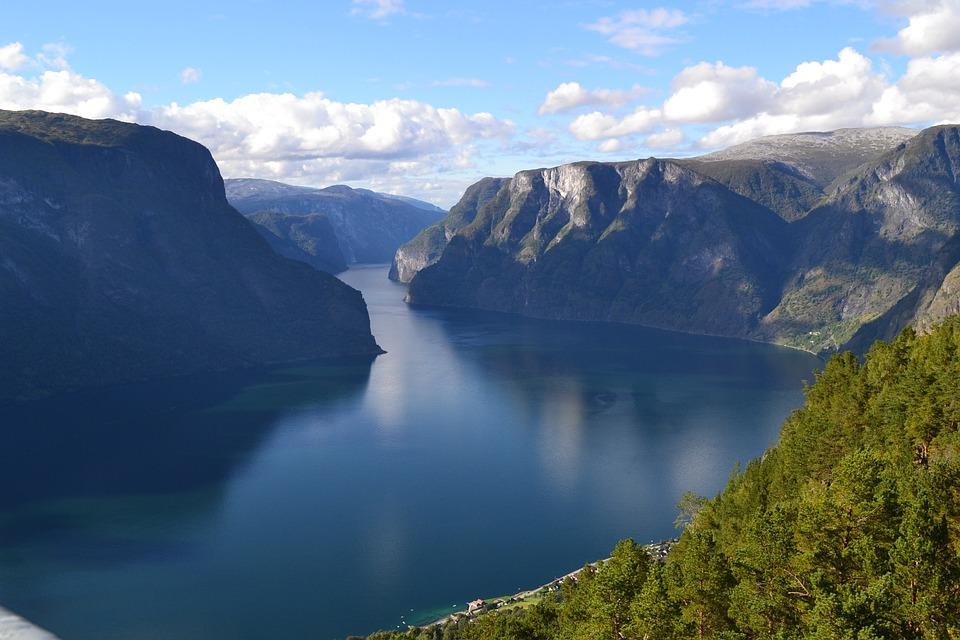 Fjord, Blue, Water, Rock, Top, High, Landscape, Nature