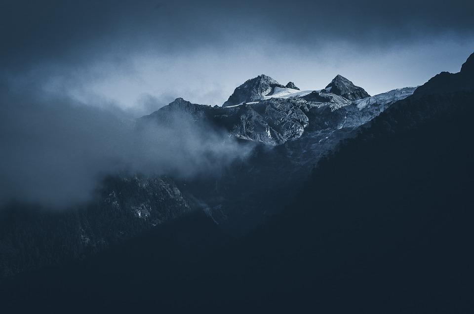 Mountains, Peak, Fog, Clouds, Summit, Rock