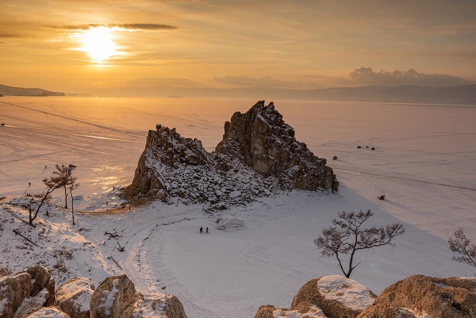 Rock Formations, Hoarfrost, Baikal Lake, Siberia