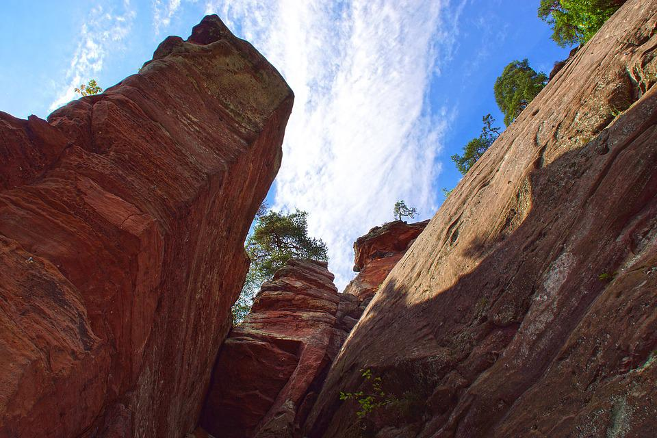 Rock, Sandstone, Alsace, France, Vosges North, Climbing