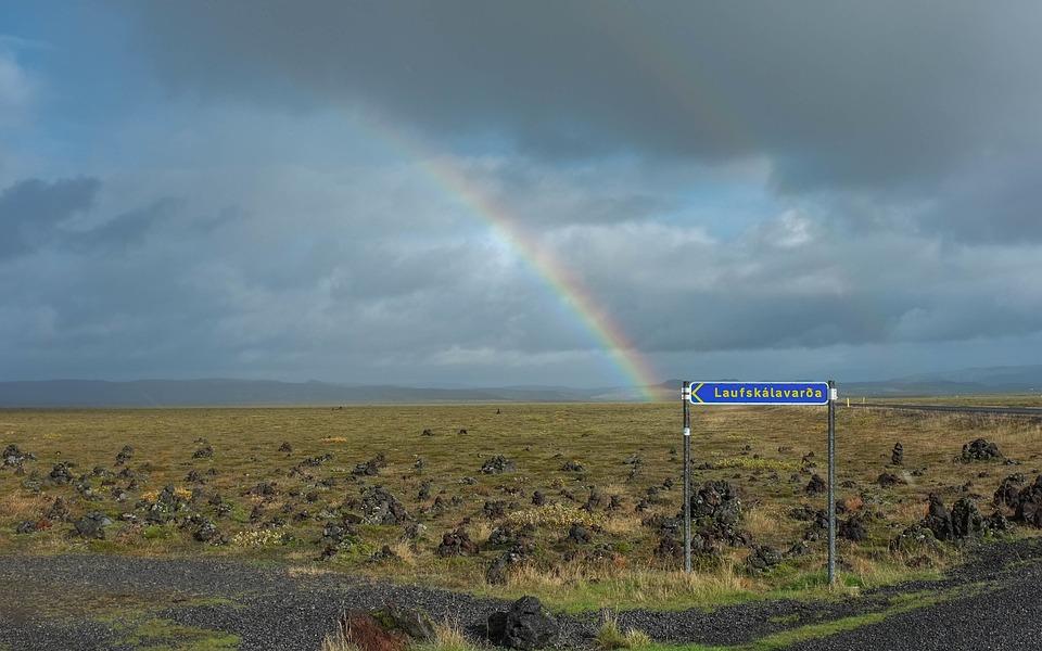 Cloudy, Dark, Sky, Grassland, Sign, Rock, Road