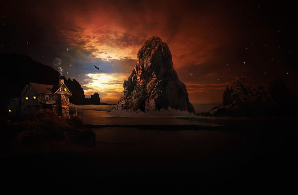 Landscape, Water, Sea, Sky, Rock, Home, Clouds, Star