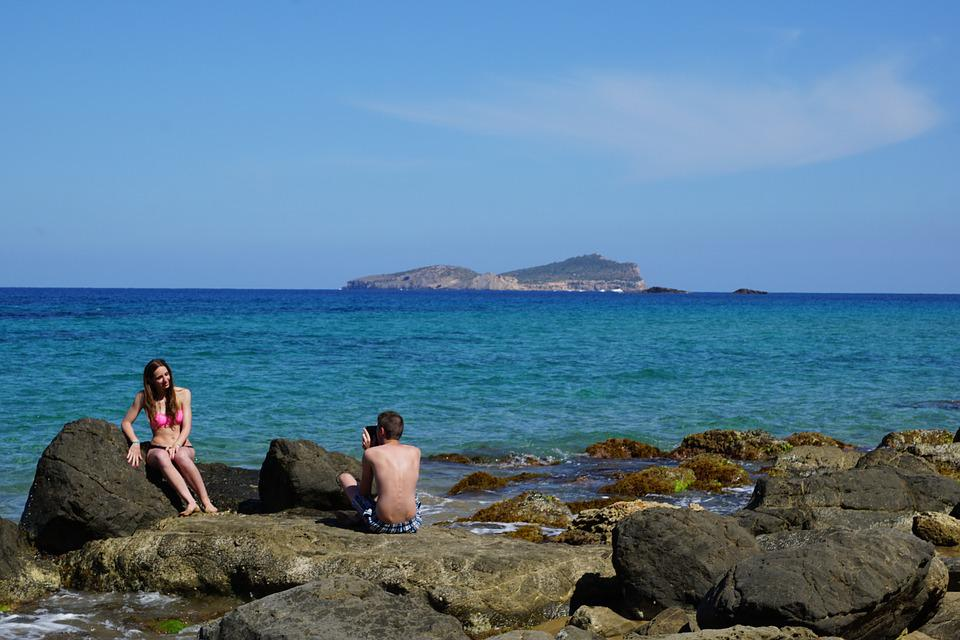 Ibiza, Island, Sea, Stones, Rock, Water, Spain, Pair