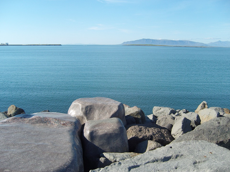 Reykjavik, Iceland, Sea, Lake, Stones, Rock, Horizon