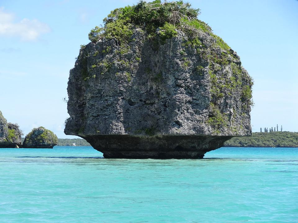 New Caledonia, Rock, Ocean, Sky, Pierre, Island, Lagoon