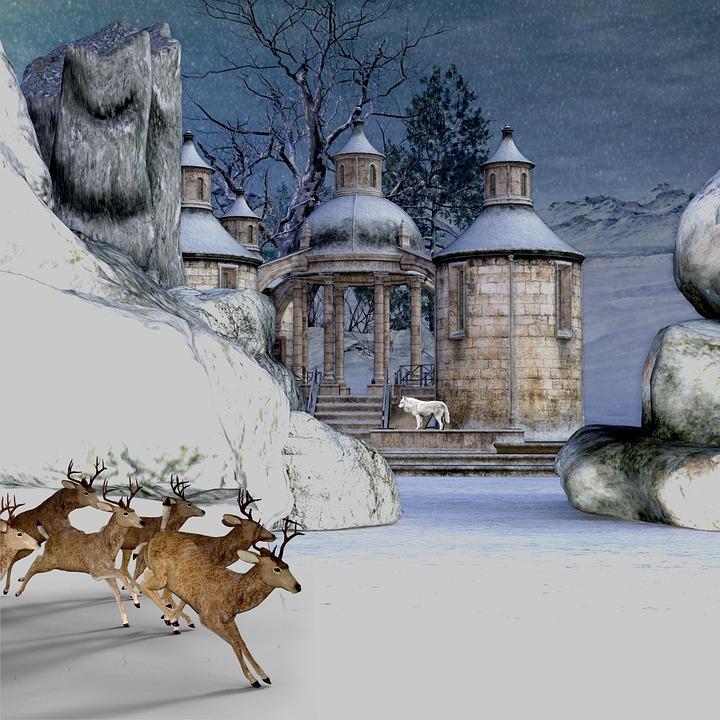 Landscape, Architecture, Winter, Rock, Fantasy, Snow