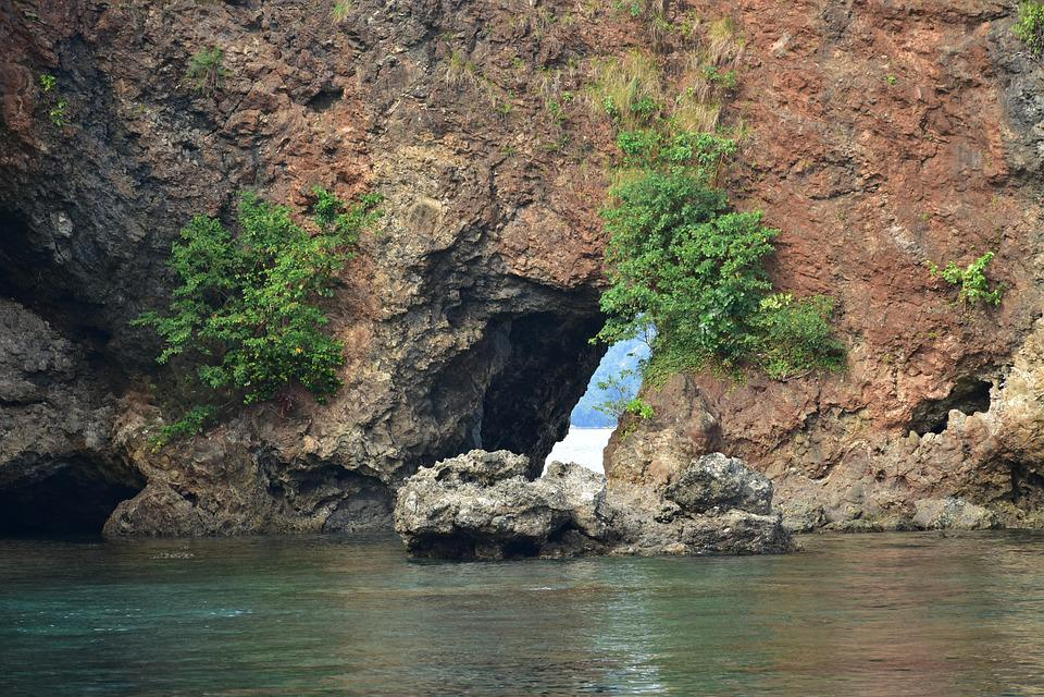 Rock, Hole, Seashore, Amboina, Sea, Water, Nature