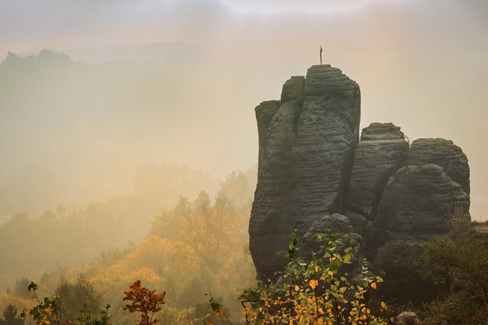 Elbe Sandstone, Morning, Haze, Rock Needles, Landscape