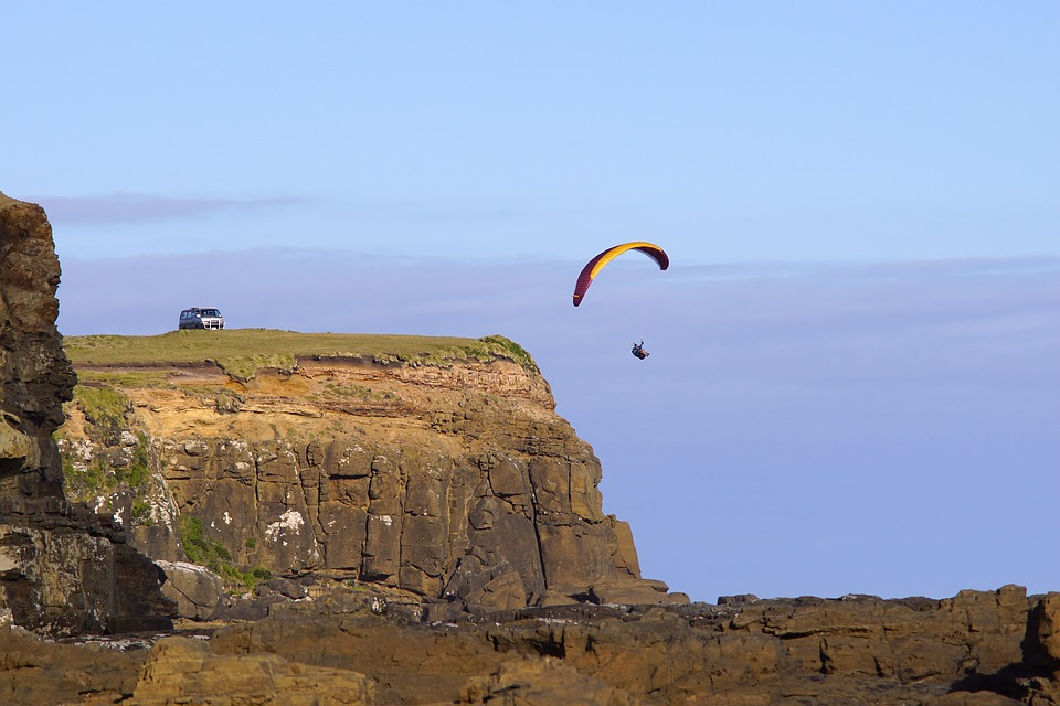 Paraglide, Sky, Rock, Outdoors, Travel, Landscape