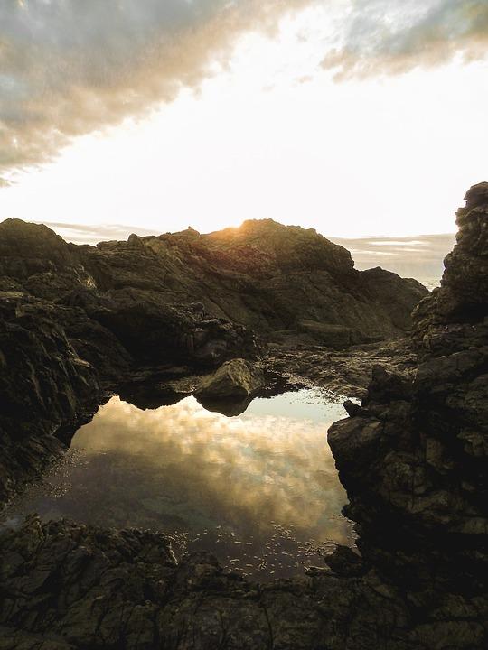 Beach, Sunrise, Reflection, Rock Pool, Seascape