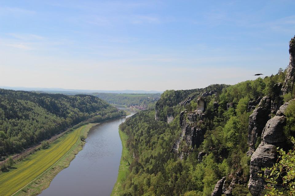 Elbe, River, Bastei, Mountain, Saxony, Rock
