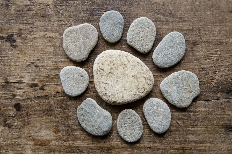 Pebbles, Zen, Stones, Rock, Wood, Sun, Circle, Round
