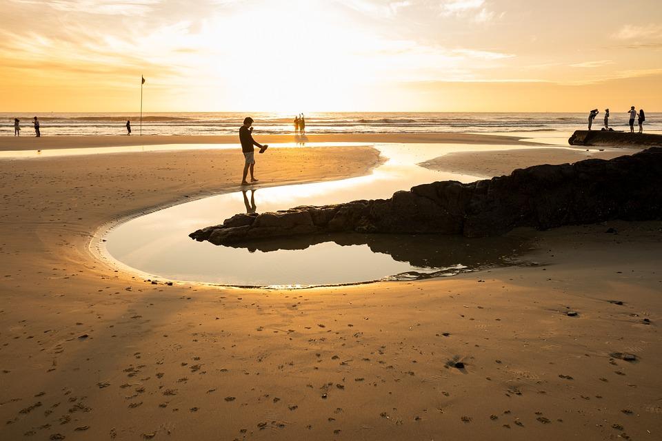 Art, Sea, Beach, Sunrise, People, Coast, Rock, Sky