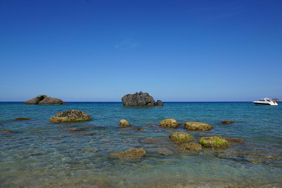 Ibiza, Island, Sea, Stones, Boot, Rock, Water, Spain