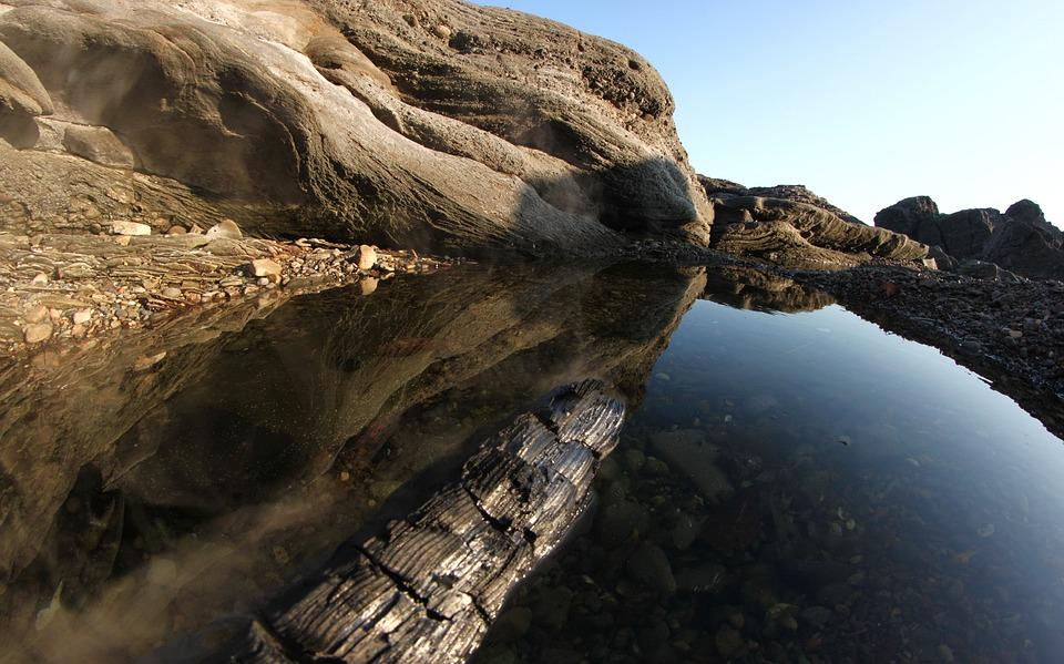 Stones, Coast, Cliff, Rock, Sunset, Sailing Boat