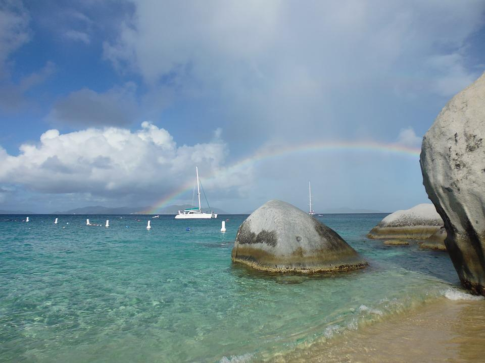 Sun, Beach, Caribbean, Sailing Boat, Rainbow, Rock, Sea