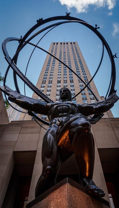 New York, Rockefeller Center, Atlas, Statue, Manhattan