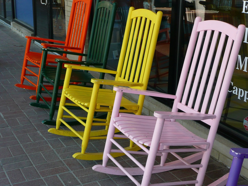 Chairs, Rocking, Wooden, Colorful, Display, Sale