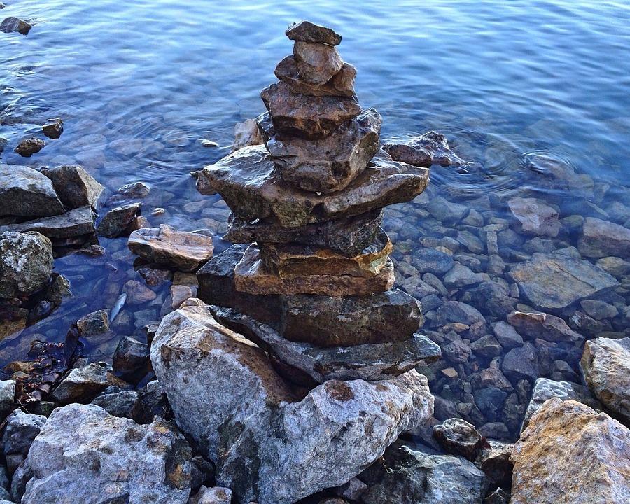 Stacked Stones, Rocks, Balance, Nature, Natural, Water